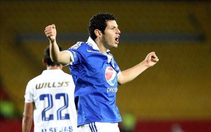 Pedro Franco, jugador del equipo de fútbol colombiano Millonarios, celebra un gol. EFE/Archivo