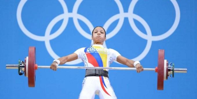 La colombiana Rusmeris Villar Barbosa. Mundial de pesas.
