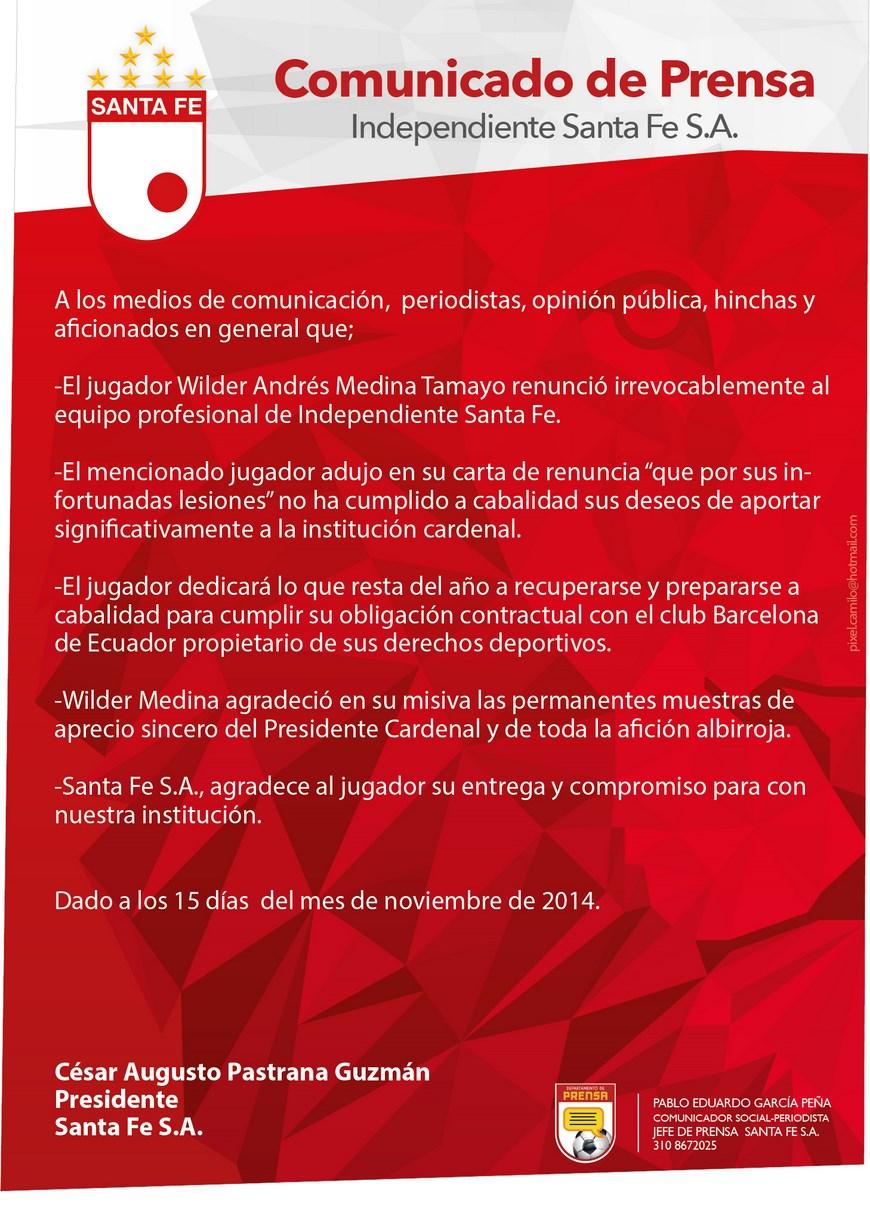 Comunicado de prensa del Independiente Santa Fe