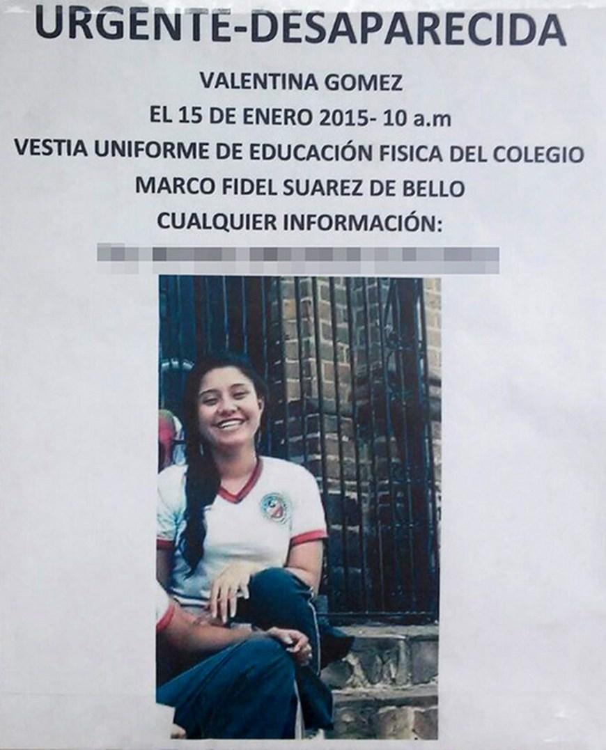 Con este aviso buscaban a Valentina en Bello.