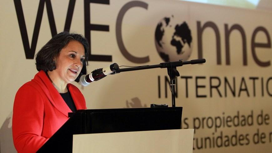 La directora ejecutiva de WEConnect International en Colombia, Ana María Guevara, fue registrada este jueves, durante el lanzamiento de esta red de empoderamiento de mujeres empresarias, en Bogotá (Colombia). EFE