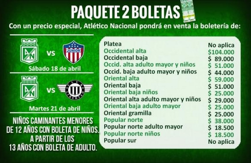 Estos son los precios del paquete de dos boletas que tendrá a la venta Atlético Nacional, hasta el próximo viernes