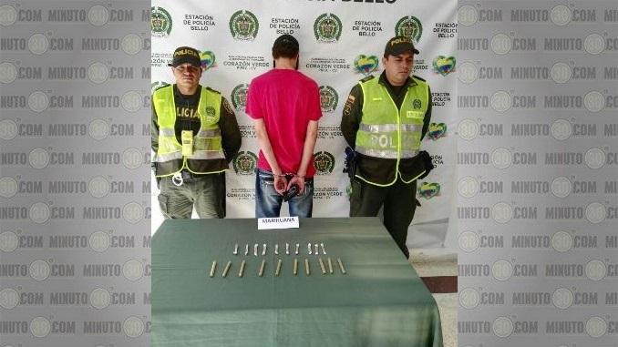 Capturado con marihuana en Bello.