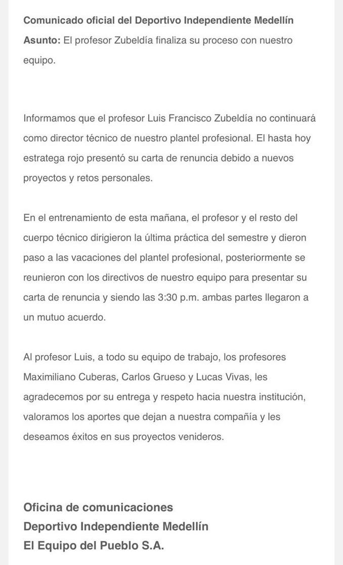 Comunicado Medellin