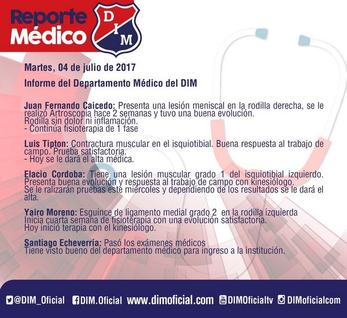 Parte medico jugadores Medellin