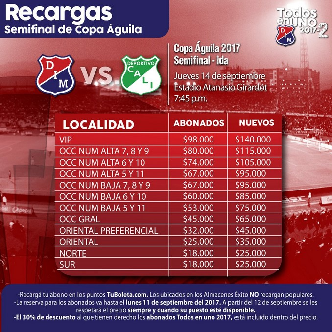 Semifinal Copa Aguila precios boleteria