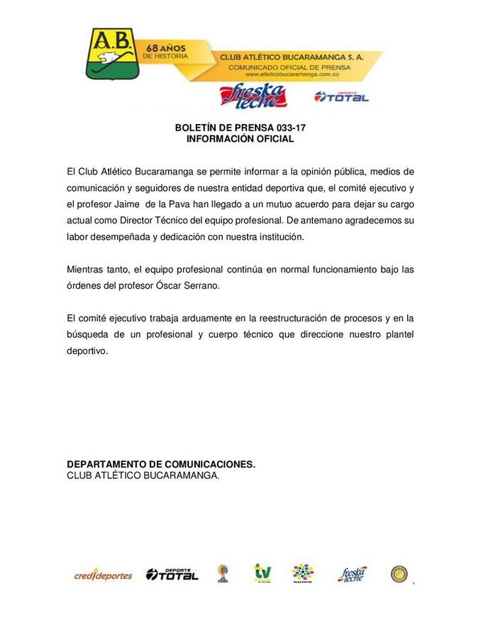 Comunicado Bucaramanga
