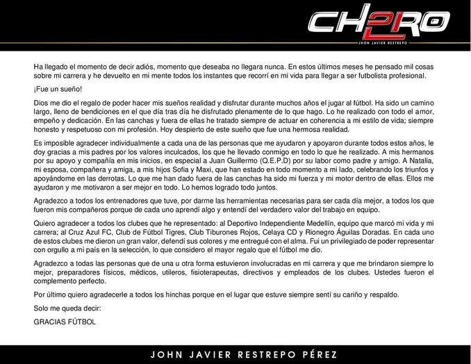 Carta despedida Choronta