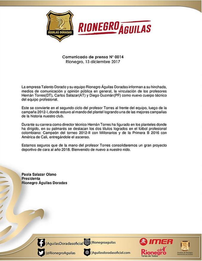 Hernan Torres nuevo entrenador Rionegro