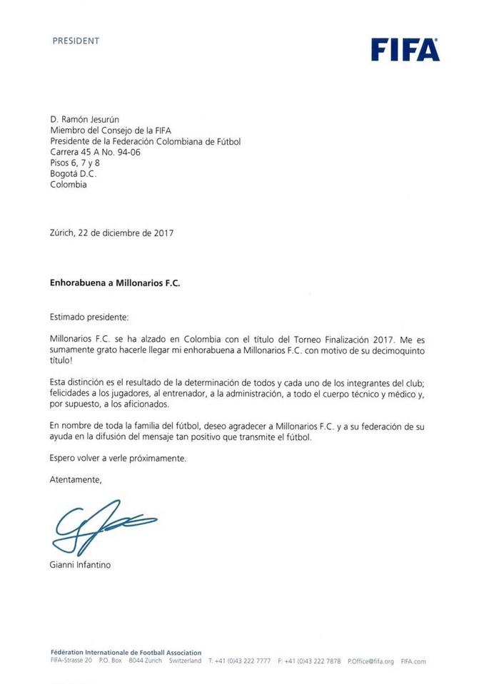 Presidente Fifa felicita Millonarios 1