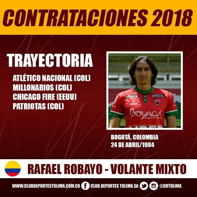 Rafael Robayo llega al Deportes Tolima