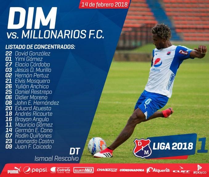 Concentrados Medellin para enfrentar a Millonarios