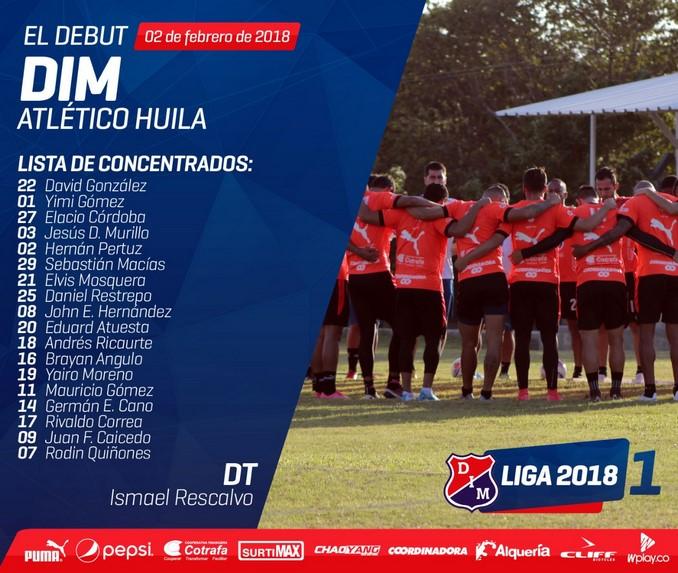 Concentrados Medellin partido con Huila