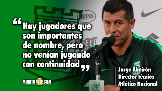 Rotacion de Nacional esta relacionada con inconformismo de Almiron con la nomina el entrenador responde