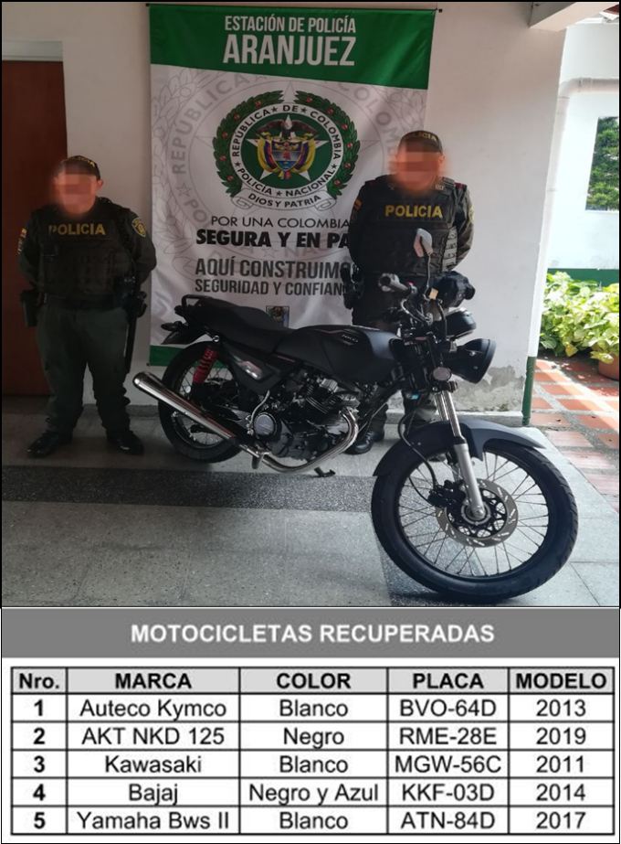 Motos recuperadas policia 16 abril