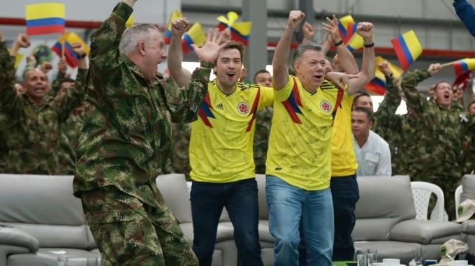 Santos celebra triunfo Colombia 3