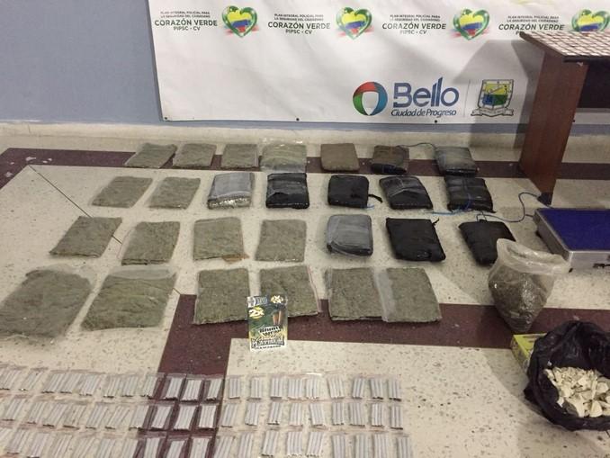 Con incautación de droga y munición, autoridades desmantelaron una plaza de vicio en Bello