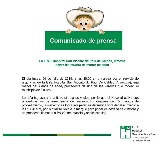Comunicado de prensa San Vicente de Paul por muerte de ni%C3%B1a de 3 a%C3%B1os