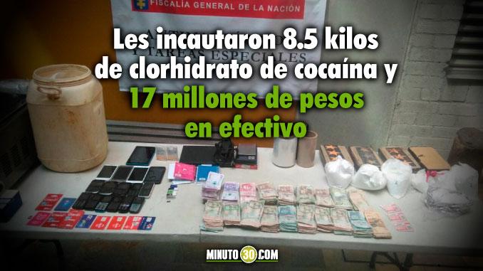 Asegurada pareja investigada por traficar cocaína desde Medellín hacia el Occidente y Norte de Antioquia