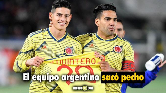 Jugadores de la Seleccion Colombia se acordaron de Quintero y River lo destaco