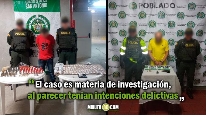 Policia captura en Medellin dos sujetos por porte ilegal de armas
