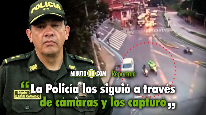 Policia siguio tres casos de fleteos en Medellin a traves de las camaras de seguridad y logro capturar a los delincuentes
