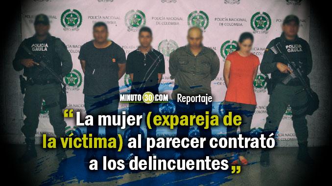 En Envigado 4 extorsionistas fueron capturados en flagrancia entre ellos la expareja de la victima