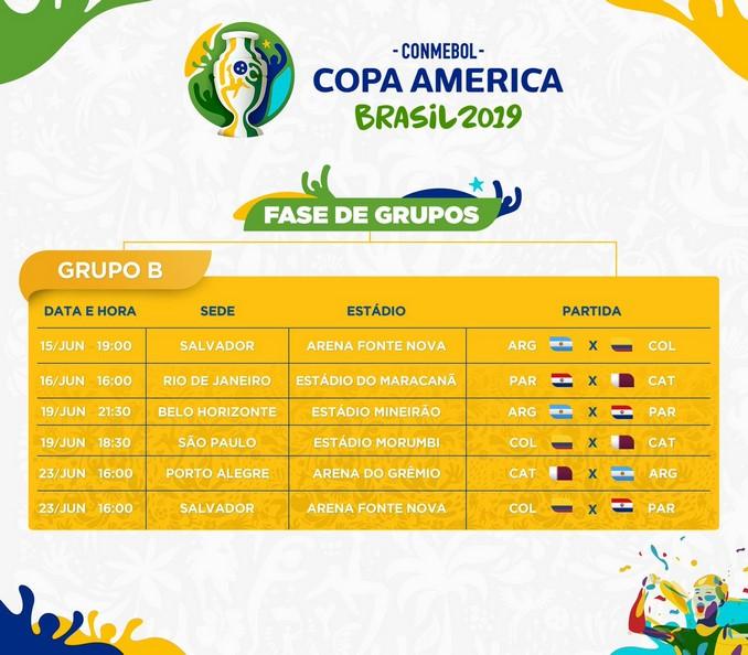 Calendario grupoB copa america brasil