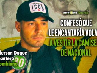 Jefferson Duque regreso con la idea de jugar en Colombia