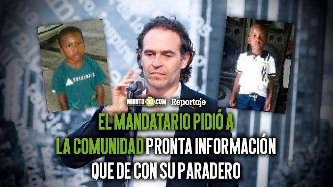 Hay que buscarlo hasta encontrarlo con vida Alcalde Federico Gutierrez sobre el caso del pequeno Marlon