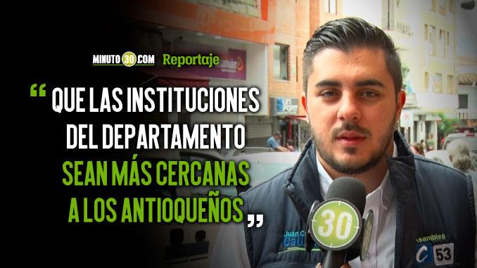 Juan Camilo Callejas candidato a la Asamblea quiere descentralizar las herramientas administrativas de Antioquia