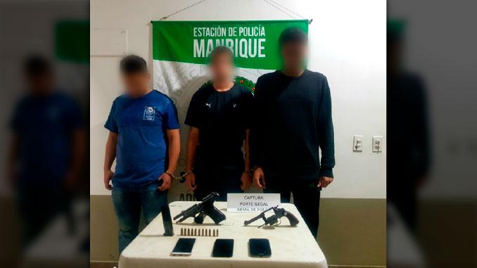 capturados en Mantique con armas de fuego