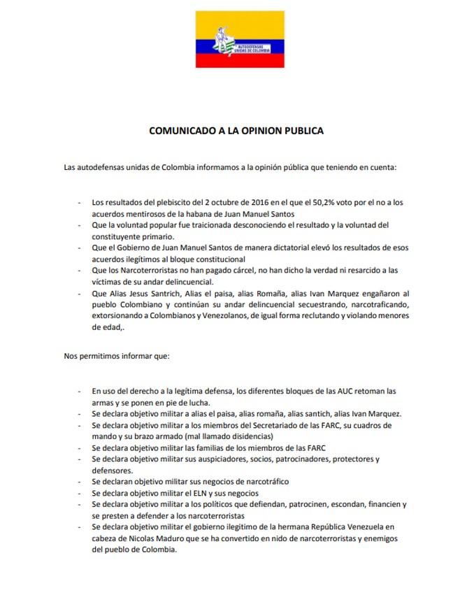 6 10 19 comunicado AUC creacion bloque venezuela