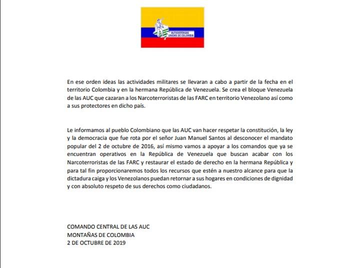 6 10 19 comunicado AUC creacion bloque venezuela1