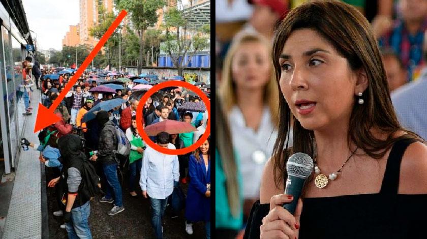 Claudia Lopez en Marchas estudiantiles Ministra de Educacion