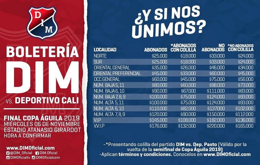 Precios boleteria final Copa Aguila en el Atanasio Copiar