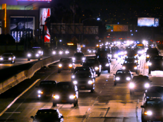 highway traffic night urban illuminated high angle footage city los angeles usa busy california road transportation timelapse connection cars evupxfvsg F0000 1
