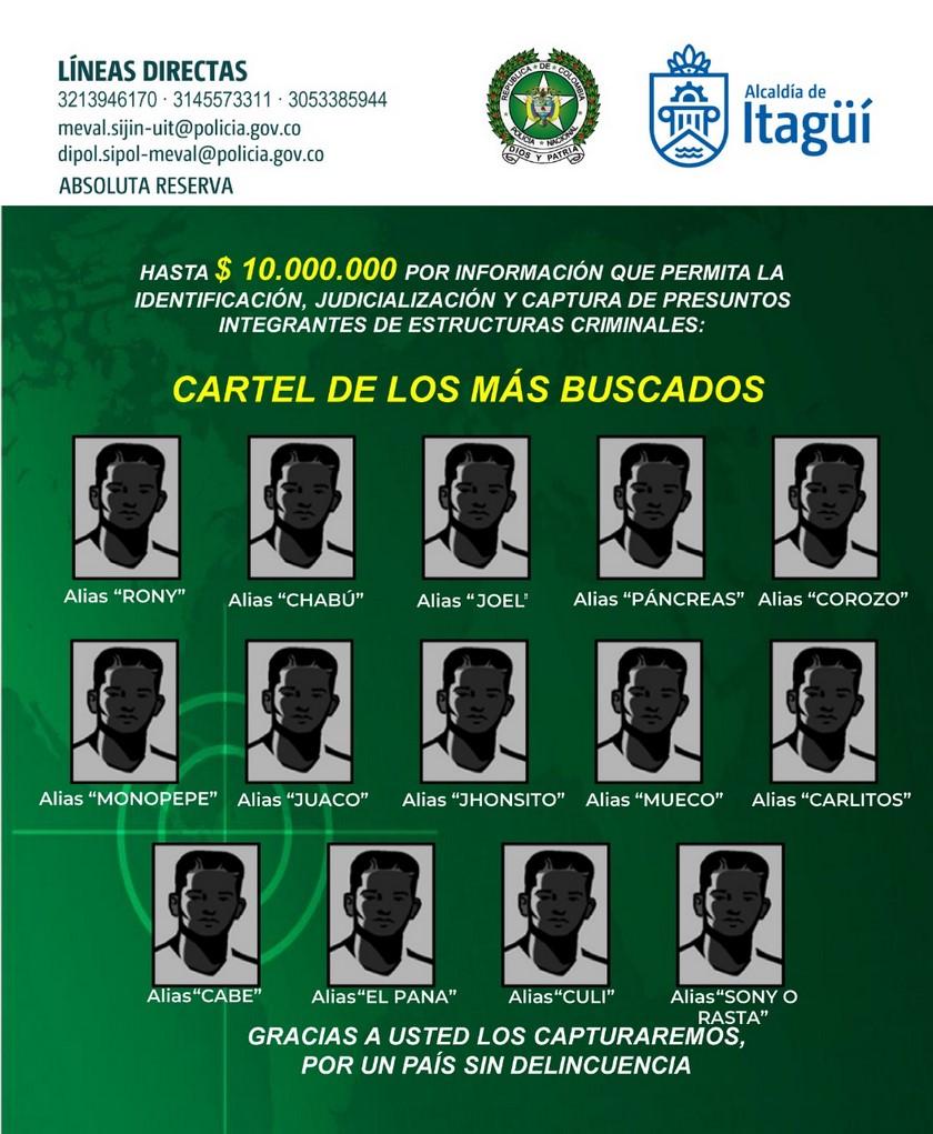 cartel de los m%C3%A1s buscados en Itagui