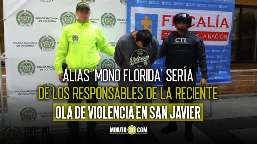 Asegurado alias Mono Florida por homicidio de un hombre senalado como ladron en la Comuna 13 de Medellin