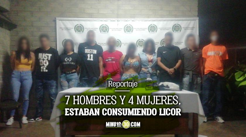 Por irresponsables Autoridades capturaron a 11 personas en el barrio Antioquia estando de fiesta