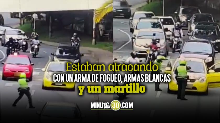 Ladrones capturados robando en un taxi en Envigado Policia