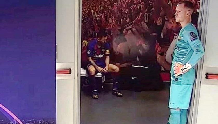 Foto de Messi en el camerino ante el Bayern