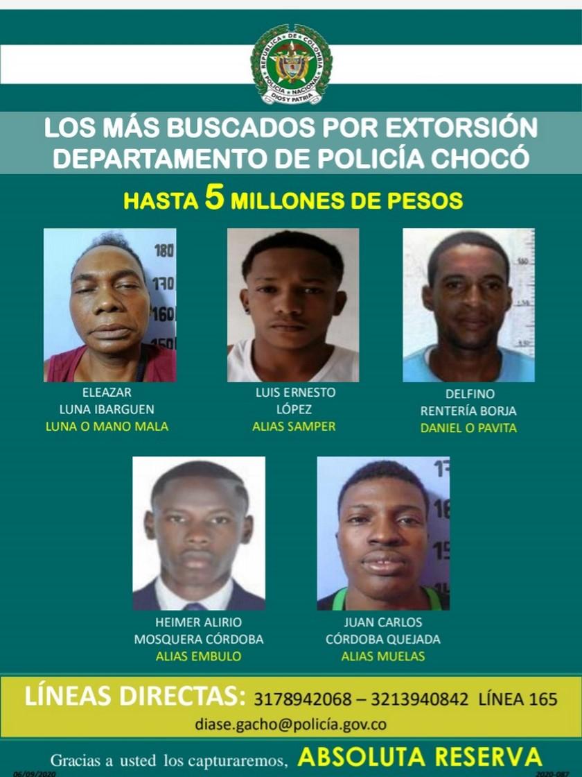 CARTES DE LOS MAS BUSCADOS POR EXTORCION EN CHOCO 1