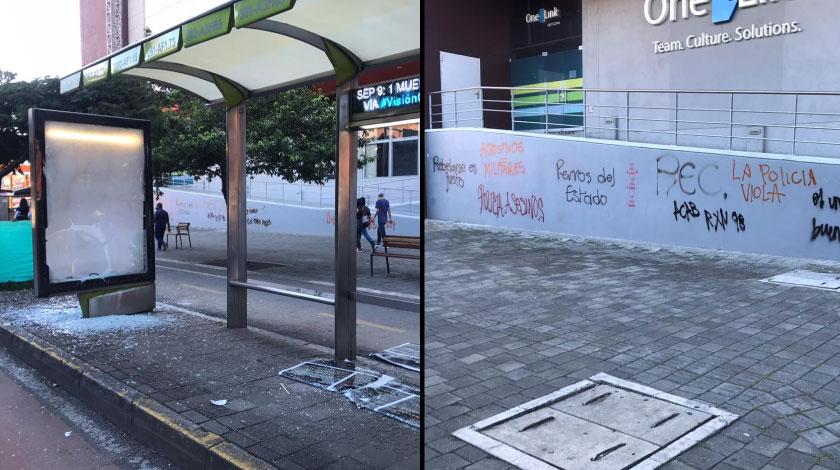 Vandalismo avenida carabobo Medellin manifestacion ciudadana