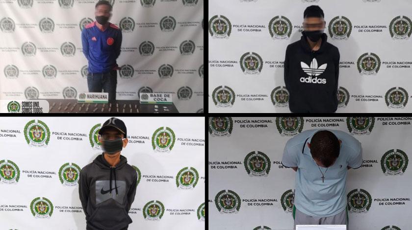 capturados con marihuana y cocaina en Medellin