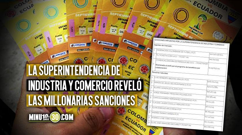 Reventa de boleteria Federacion Colombiana de Futbol sanciones