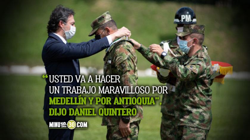 alcalde Daniel Quintero dio la bienvenida al nuevo comandante de la Cuarta Brigada del Ejercito