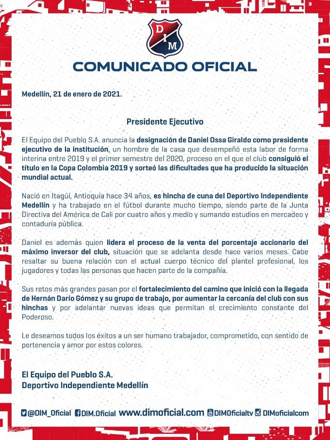 Se oficializó el nuevo presidente de Independiente Medellín
