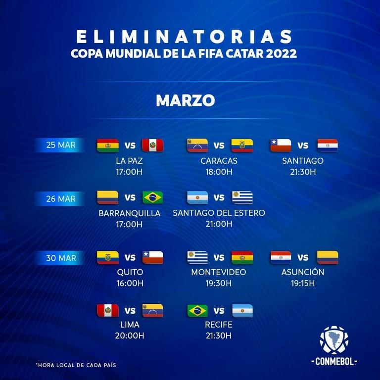 Conmebol confirma horarios para fecha 5 y 6 de las Eliminatorias Sudamericanas