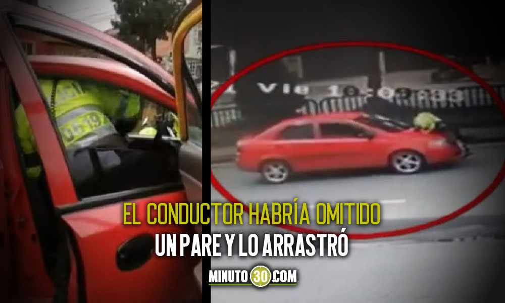 Conductor se lleva por delante a Policía